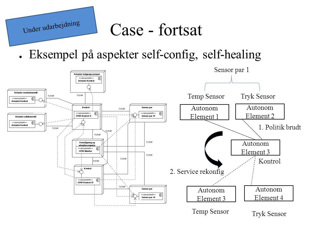 Case - fortsat ● Eksempel på aspekter self-config, self-healing Autonom Element 1 Autonom Element 3 Sensor par 1 Kontrol 1.