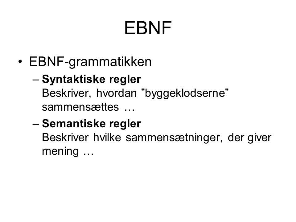 EBNF EBNF-grammatikken –Syntaktiske regler Beskriver, hvordan byggeklodserne sammensættes … –Semantiske regler Beskriver hvilke sammensætninger, der giver mening …