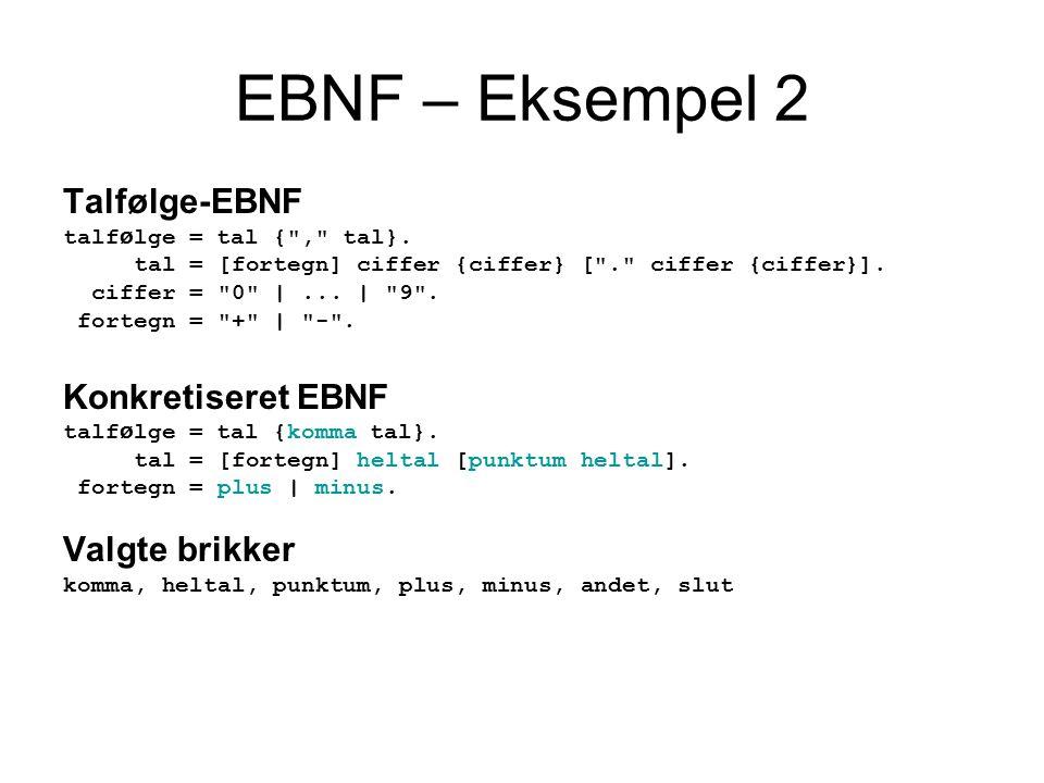 EBNF – Eksempel 2 Talfølge-EBNF talf ø lge = tal { , tal}.