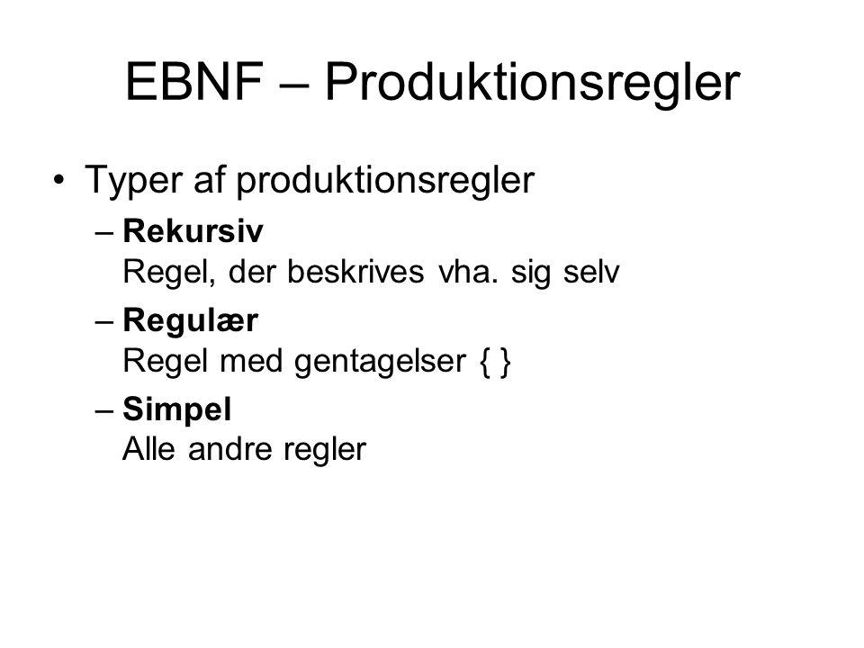 EBNF – Produktionsregler Typer af produktionsregler –Rekursiv Regel, der beskrives vha.