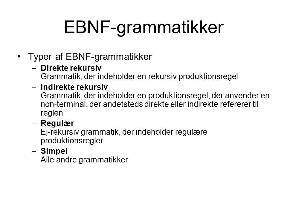 EBNF-grammatikker Typer af EBNF-grammatikker –Direkte rekursiv Grammatik, der indeholder en rekursiv produktionsregel –Indirekte rekursiv Grammatik, der indeholder en produktionsregel, der anvender en non-terminal, der andetsteds direkte eller indirekte refererer til reglen –Regulær Ej-rekursiv grammatik, der indeholder regulære produktionsregler –Simpel Alle andre grammatikker