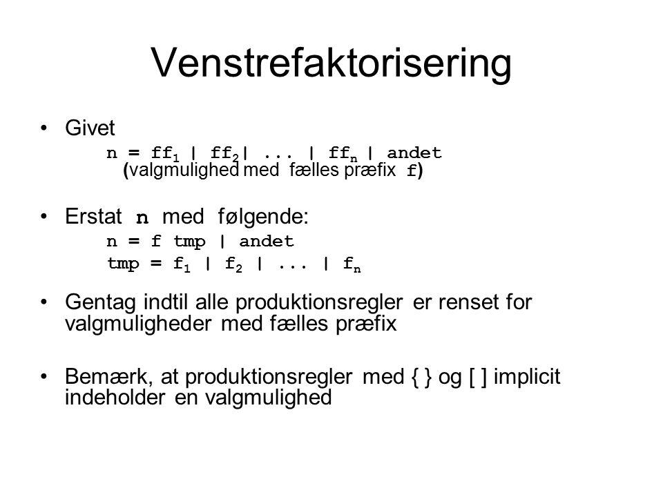 Venstrefaktorisering Givet n = ff 1 | ff 2 |...