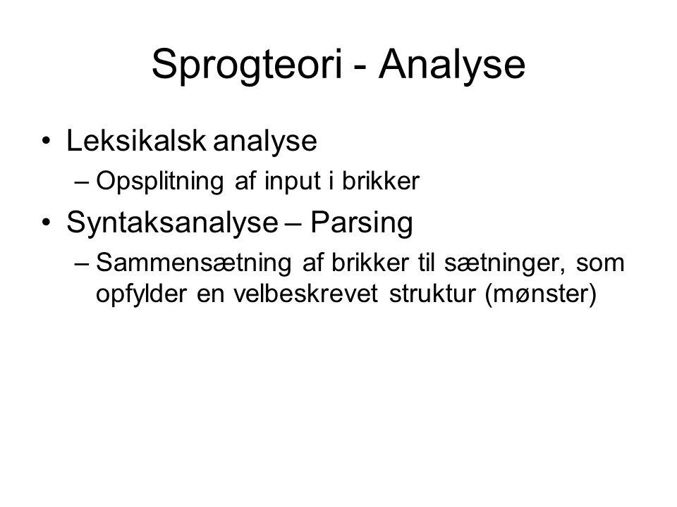 Sprogteori - Analyse Leksikalsk analyse –Opsplitning af input i brikker Syntaksanalyse – Parsing –Sammensætning af brikker til sætninger, som opfylder en velbeskrevet struktur (mønster)