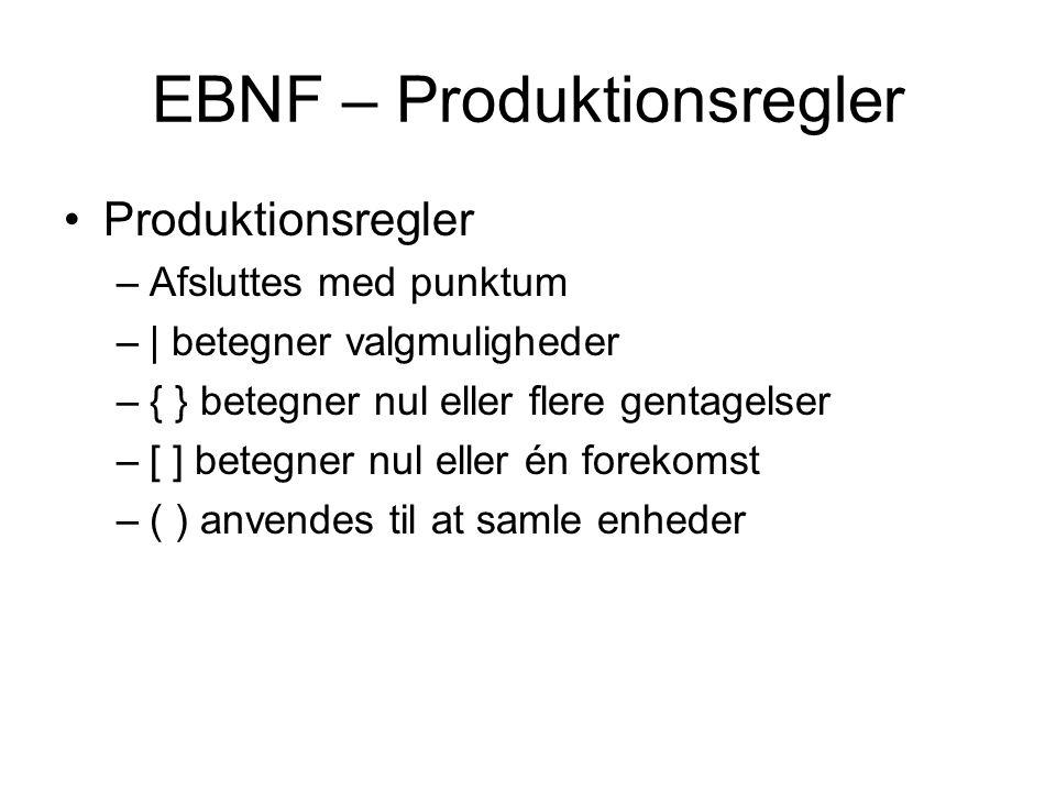 EBNF – Produktionsregler Produktionsregler –Afsluttes med punktum –| betegner valgmuligheder –{ } betegner nul eller flere gentagelser –[ ] betegner nul eller én forekomst –( ) anvendes til at samle enheder