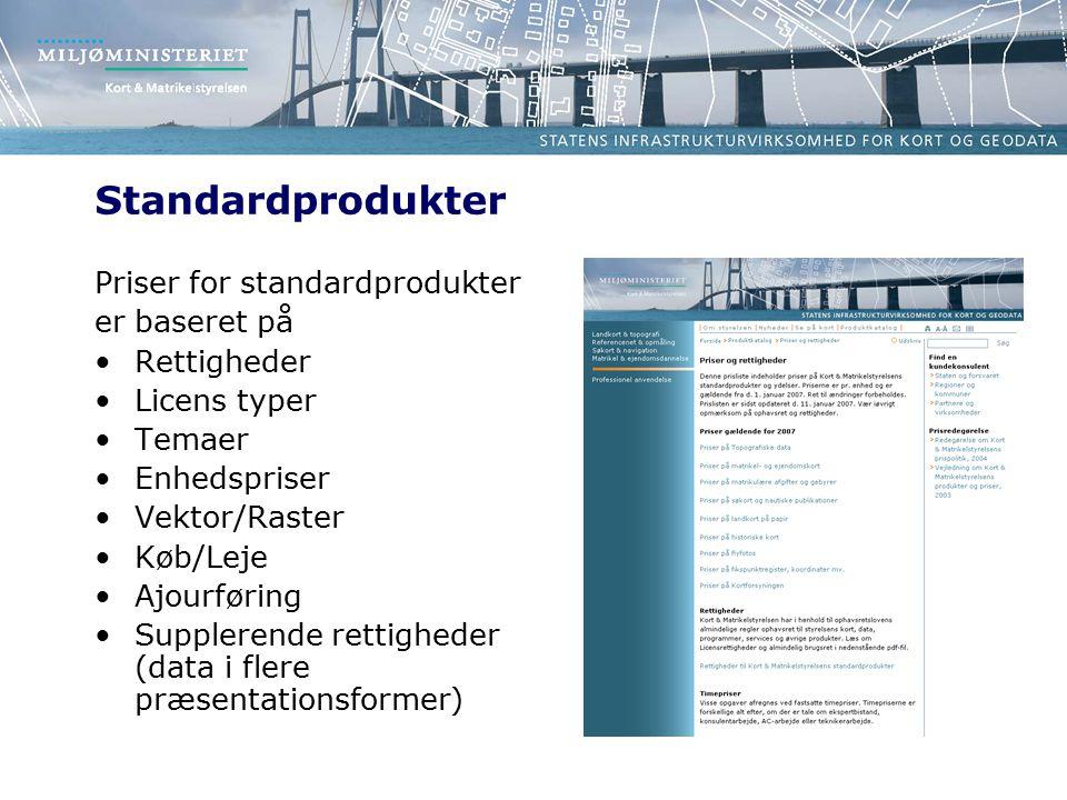 Standardprodukter Priser for standardprodukter er baseret på Rettigheder Licens typer Temaer Enhedspriser Vektor/Raster Køb/Leje Ajourføring Supplerende rettigheder (data i flere præsentationsformer)