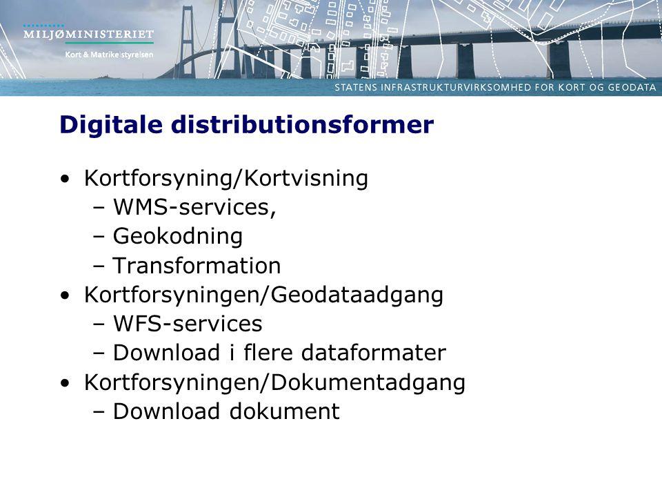 Digitale distributionsformer Kortforsyning/Kortvisning –WMS-services, –Geokodning –Transformation Kortforsyningen/Geodataadgang –WFS-services –Download i flere dataformater Kortforsyningen/Dokumentadgang –Download dokument