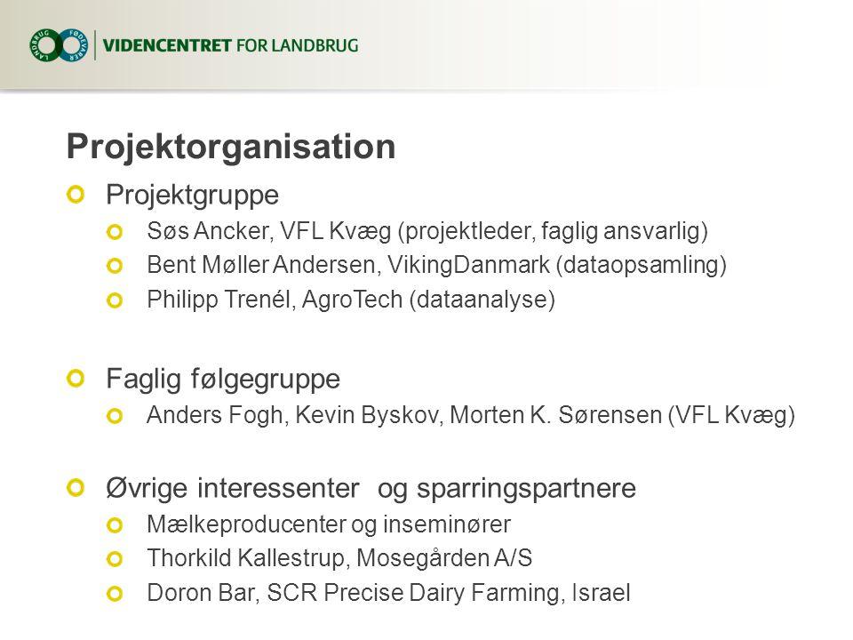 Projektorganisation Projektgruppe Søs Ancker, VFL Kvæg (projektleder, faglig ansvarlig) Bent Møller Andersen, VikingDanmark (dataopsamling) Philipp Trenél, AgroTech (dataanalyse) Faglig følgegruppe Anders Fogh, Kevin Byskov, Morten K.