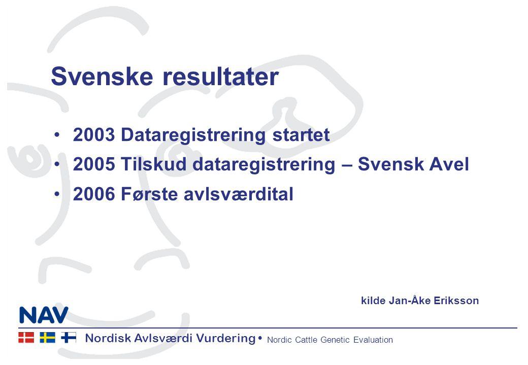 Nordisk Avlsværdi Vurdering Nordic Cattle Genetic Evaluation Svenske resultater 2003 Dataregistrering startet 2005 Tilskud dataregistrering – Svensk Avel 2006 Første avlsværdital kilde Jan-Åke Eriksson
