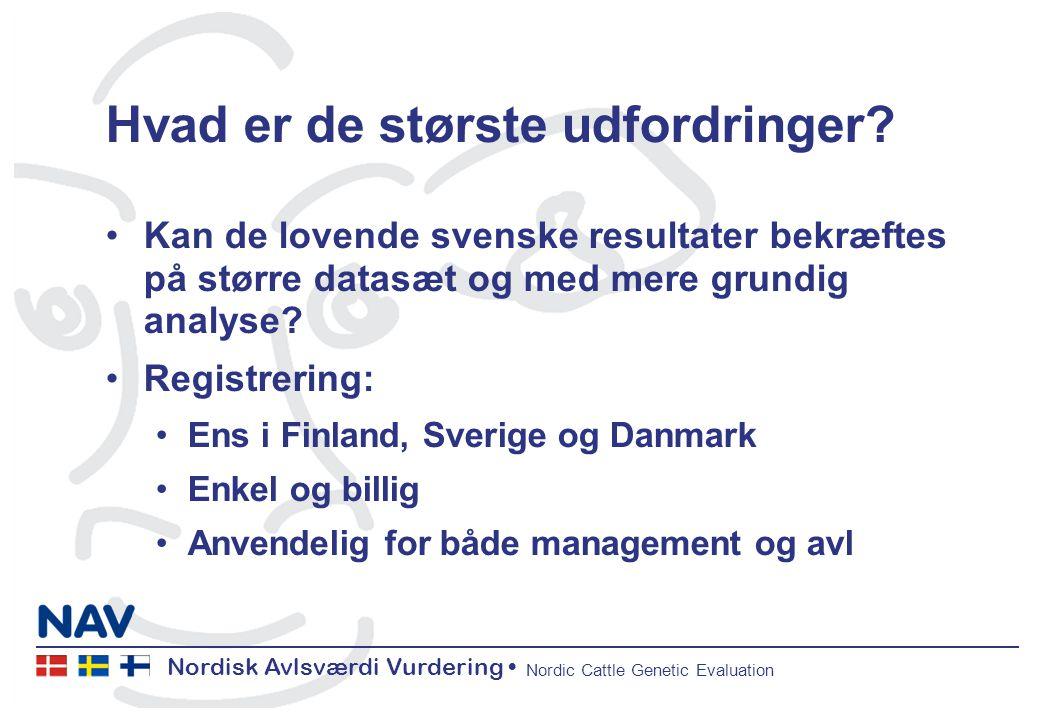 Nordisk Avlsværdi Vurdering Nordic Cattle Genetic Evaluation Hvad er de største udfordringer.