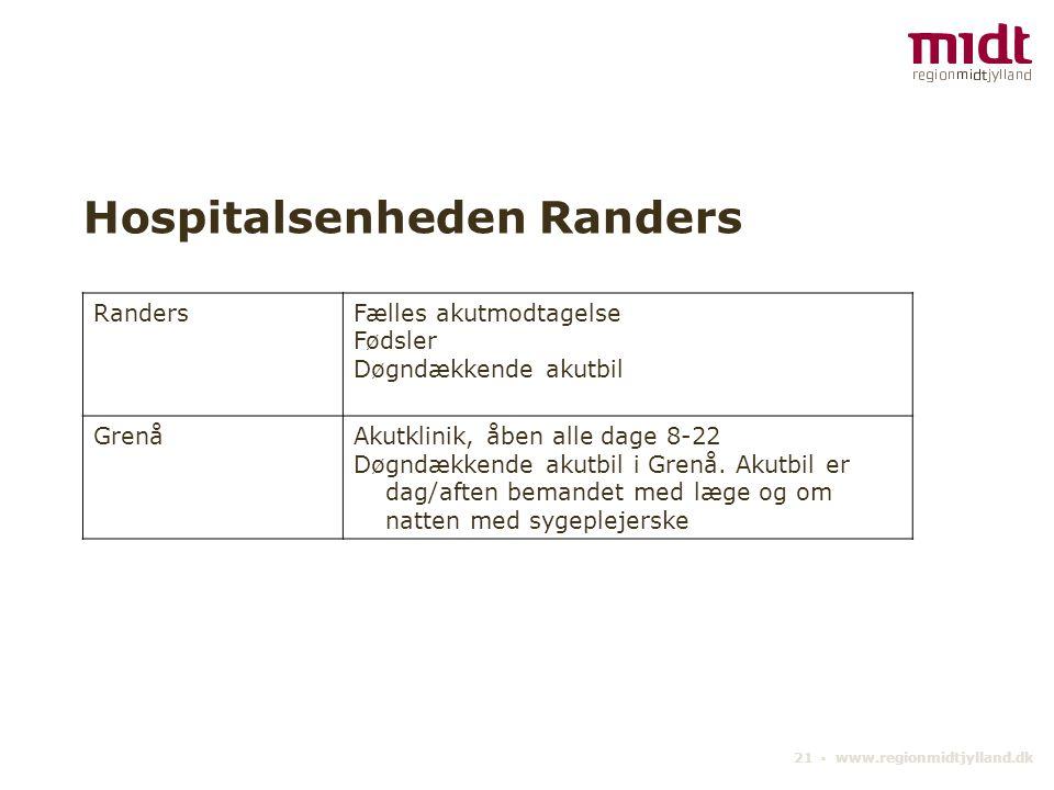 21 ▪ www.regionmidtjylland.dk Hospitalsenheden Randers RandersFælles akutmodtagelse Fødsler Døgndækkende akutbil GrenåAkutklinik, åben alle dage 8-22 Døgndækkende akutbil i Grenå.