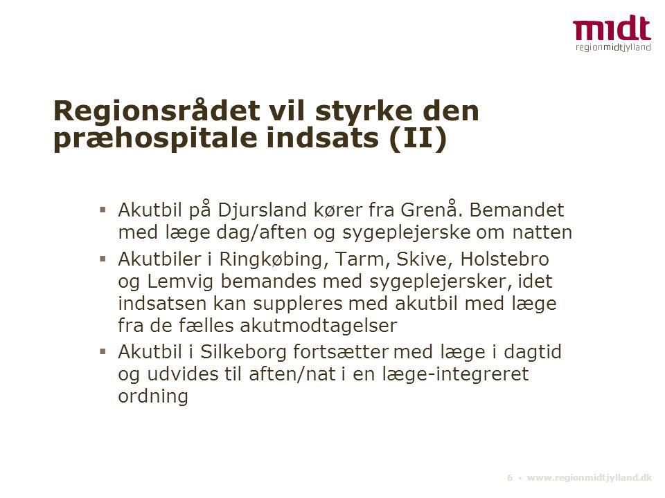 6 ▪ www.regionmidtjylland.dk Regionsrådet vil styrke den præhospitale indsats (II)  Akutbil på Djursland kører fra Grenå.