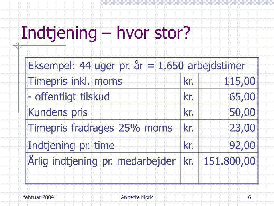 februar 2004Annette Mørk6 Indtjening – hvor stor. Eksempel: 44 uger pr.
