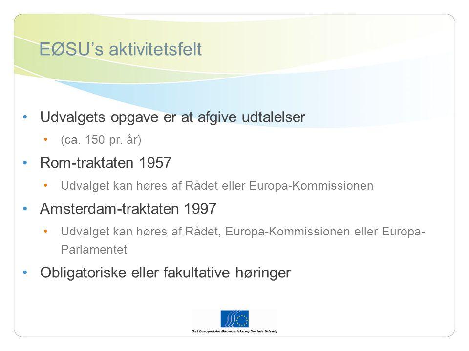 EØSU's aktivitetsfelt Udvalgets opgave er at afgive udtalelser (ca.