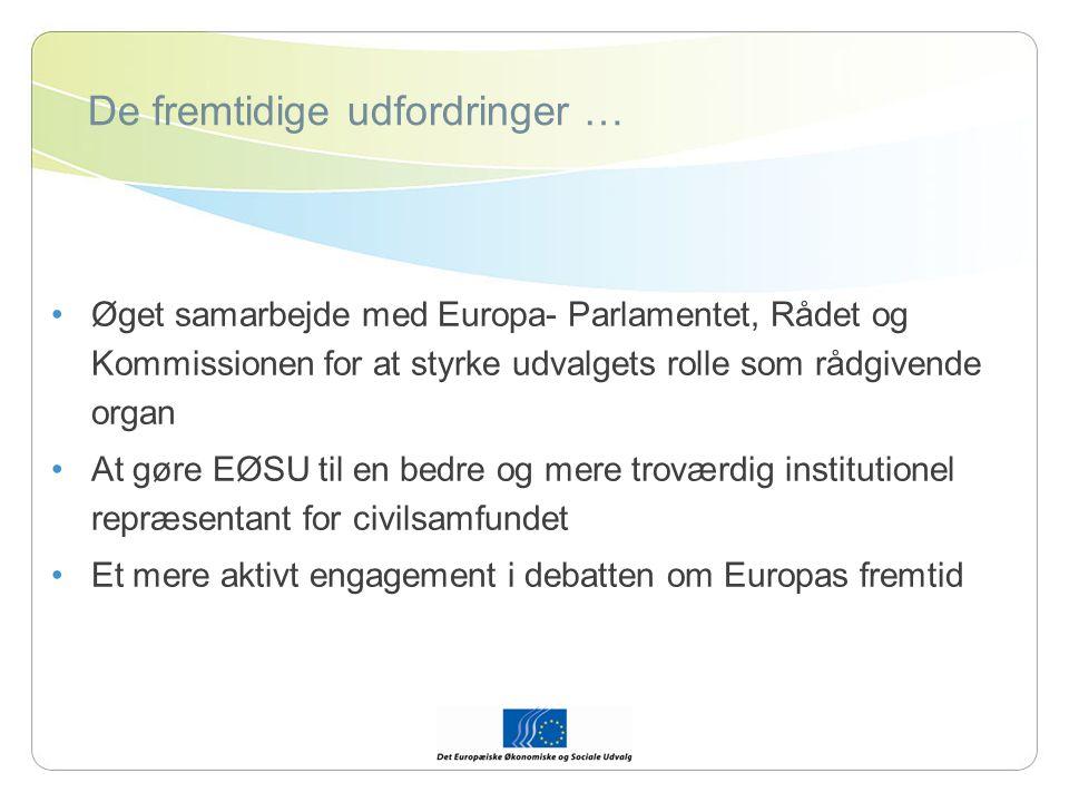 De fremtidige udfordringer … Øget samarbejde med Europa- Parlamentet, Rådet og Kommissionen for at styrke udvalgets rolle som rådgivende organ At gøre EØSU til en bedre og mere troværdig institutionel repræsentant for civilsamfundet Et mere aktivt engagement i debatten om Europas fremtid