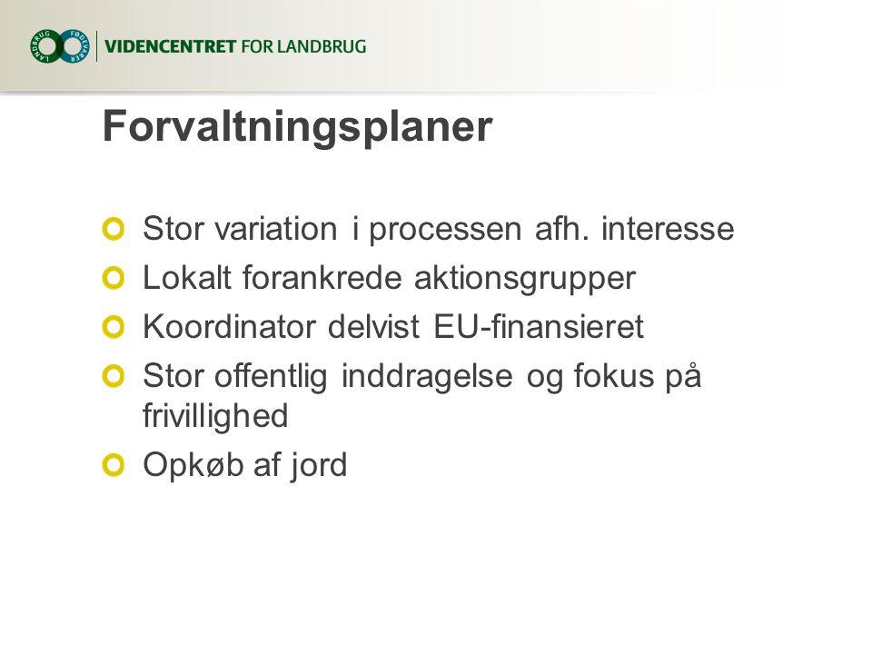 Forvaltningsplaner Stor variation i processen afh.