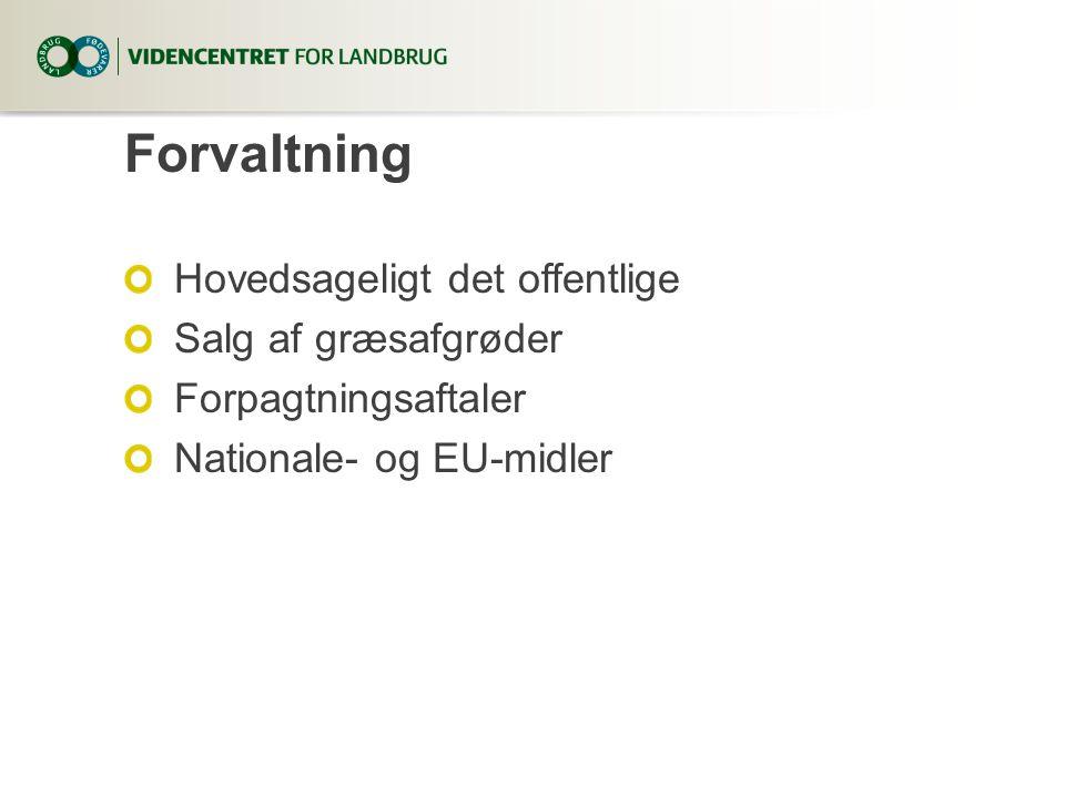 Forvaltning Hovedsageligt det offentlige Salg af græsafgrøder Forpagtningsaftaler Nationale- og EU-midler