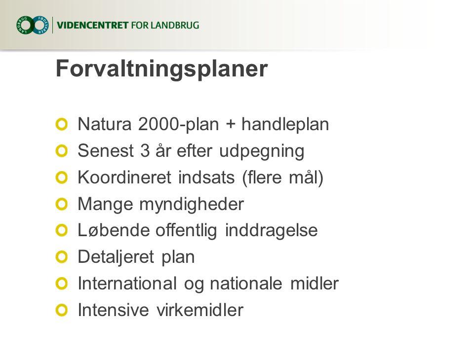 Forvaltningsplaner Natura 2000-plan + handleplan Senest 3 år efter udpegning Koordineret indsats (flere mål) Mange myndigheder Løbende offentlig inddragelse Detaljeret plan International og nationale midler Intensive virkemidler