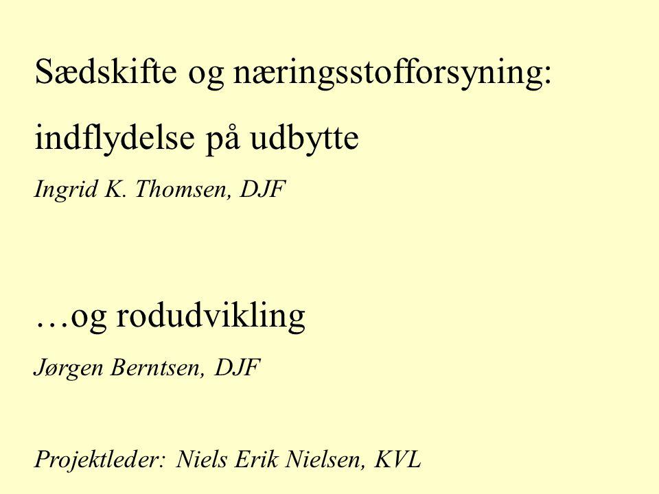 Sædskifte og næringsstofforsyning: indflydelse på udbytte Ingrid K.