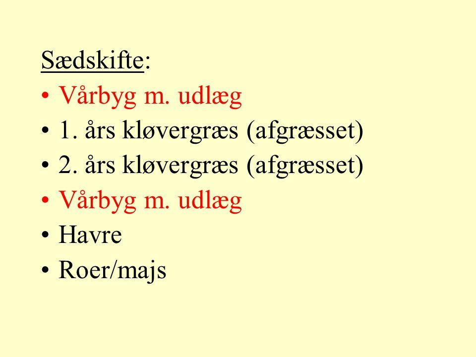 Sædskifte: Vårbyg m. udlæg 1. års kløvergræs (afgræsset) 2.