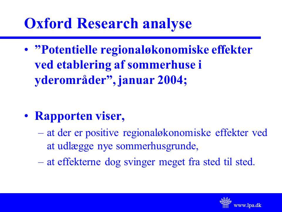 www.lpa.dk Oxford Research analyse Potentielle regionaløkonomiske effekter ved etablering af sommerhuse i yderområder , januar 2004; Rapporten viser, –at der er positive regionaløkonomiske effekter ved at udlægge nye sommerhusgrunde, –at effekterne dog svinger meget fra sted til sted.
