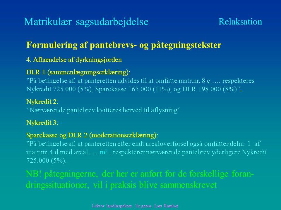 Matrikulær sagsudarbejdelse Relaksation Formulering af pantebrevs- og påtegningstekster 4.