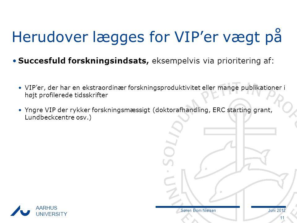 Søren Bom NielsenJuni 2012 AARHUS UNIVERSITY Herudover lægges for VIP'er vægt på Succesfuld forskningsindsats, eksempelvis via prioritering af: VIP'er, der har en ekstraordinær forskningsproduktivitet eller mange publikationer i højt profilerede tidsskrifter Yngre VIP der rykker forskningsmæssigt (doktorafhandling, ERC starting grant, Lundbeckcentre osv.) 11