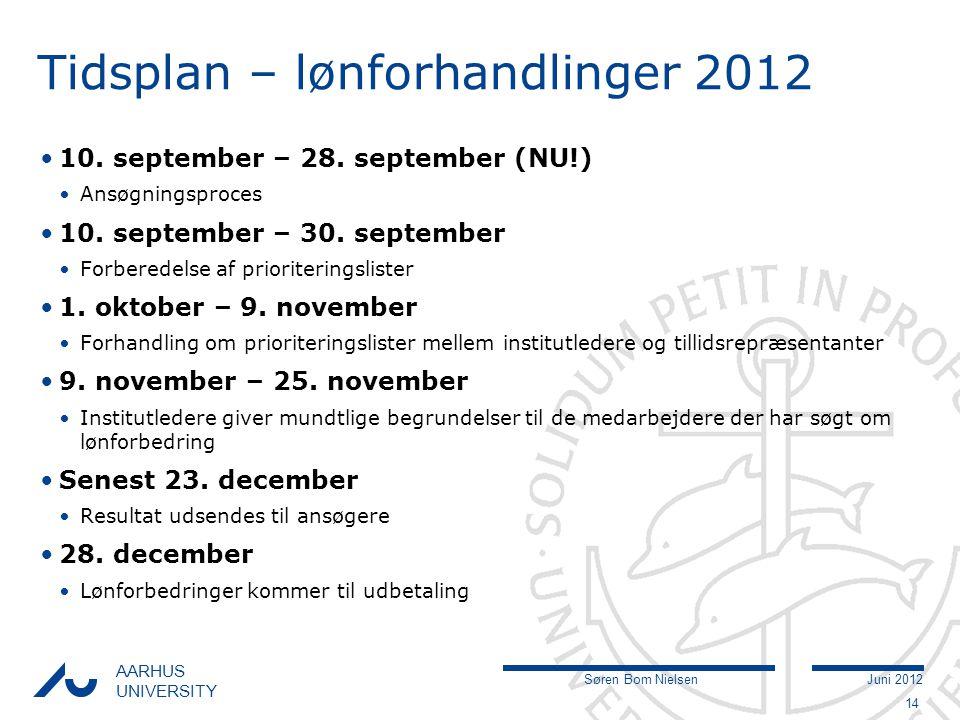 Søren Bom NielsenJuni 2012 AARHUS UNIVERSITY Tidsplan – lønforhandlinger 2012 10.