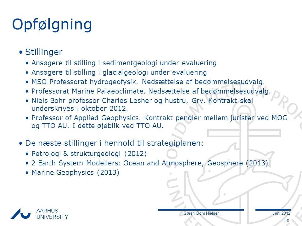 Søren Bom NielsenJuni 2012 AARHUS UNIVERSITY Opfølgning Stillinger Ansøgere til stilling i sedimentgeologi under evaluering Ansøgere til stilling i glacialgeologi under evaluering MSO Professorat hydrogeofysik.