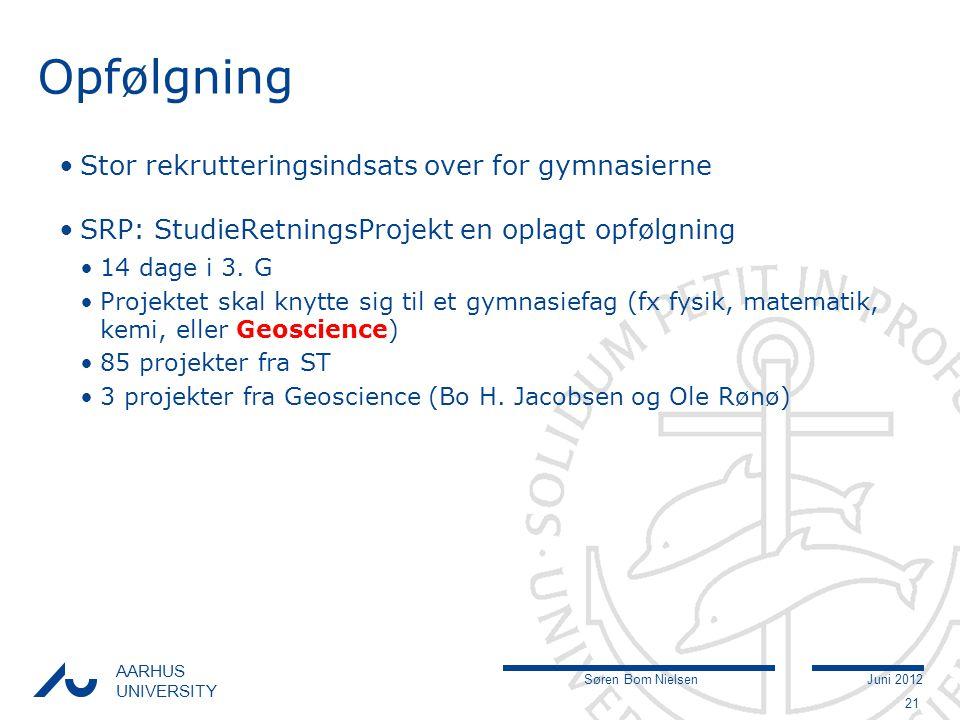 Søren Bom NielsenJuni 2012 AARHUS UNIVERSITY Opfølgning Stor rekrutteringsindsats over for gymnasierne SRP: StudieRetningsProjekt en oplagt opfølgning 14 dage i 3.