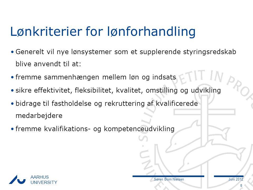 Søren Bom NielsenJuni 2012 AARHUS UNIVERSITY Lønkriterier for lønforhandling Generelt vil nye lønsystemer som et supplerende styringsredskab blive anvendt til at: fremme sammenhængen mellem løn og indsats sikre effektivitet, fleksibilitet, kvalitet, omstilling og udvikling bidrage til fastholdelse og rekruttering af kvalificerede medarbejdere fremme kvalifikations- og kompetenceudvikling 8