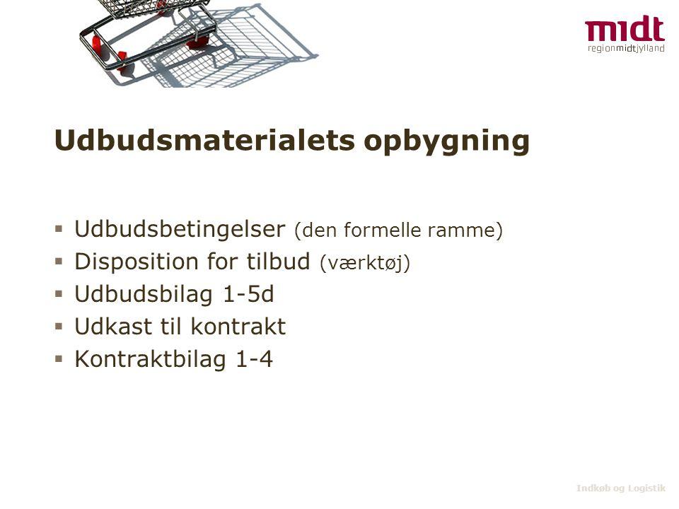 Indkøb og Logistik Udbudsmaterialets opbygning  Udbudsbetingelser (den formelle ramme)  Disposition for tilbud (værktøj)  Udbudsbilag 1-5d  Udkast til kontrakt  Kontraktbilag 1-4