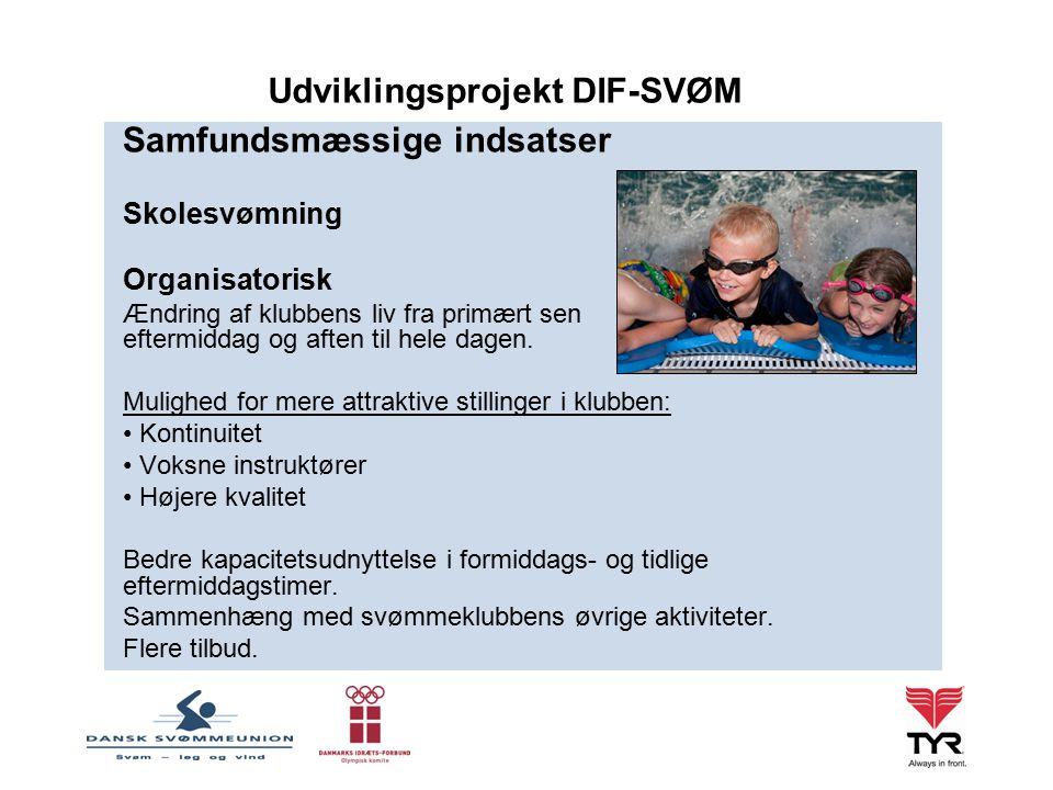 Samfundsmæssige indsatser Skolesvømning Organisatorisk Ændring af klubbens liv fra primært sen eftermiddag og aften til hele dagen.