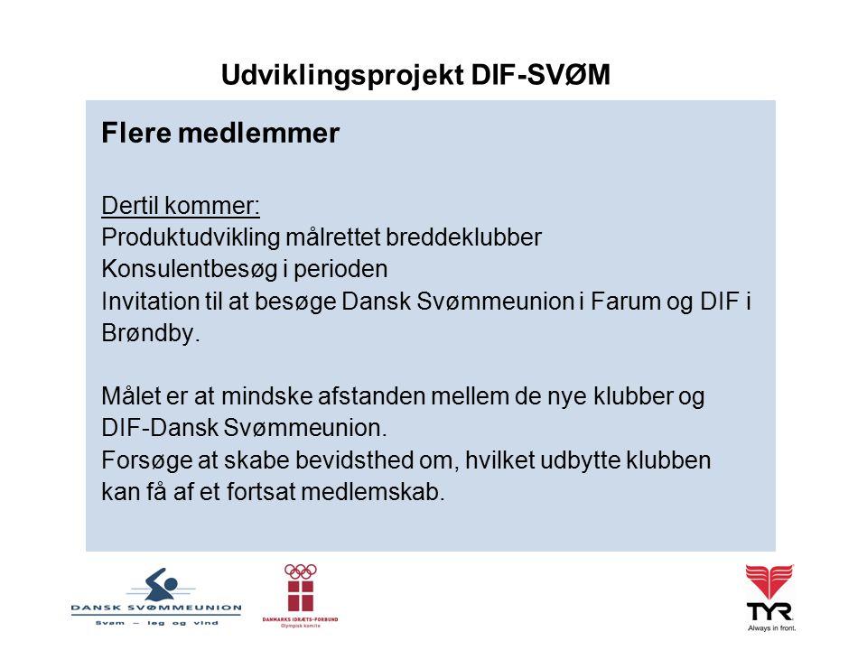 Flere medlemmer Dertil kommer: Produktudvikling målrettet breddeklubber Konsulentbesøg i perioden Invitation til at besøge Dansk Svømmeunion i Farum og DIF i Brøndby.
