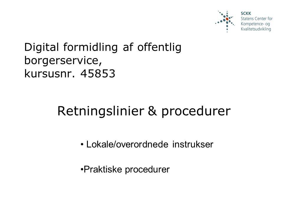 Digital formidling af offentlig borgerservice, kursusnr.