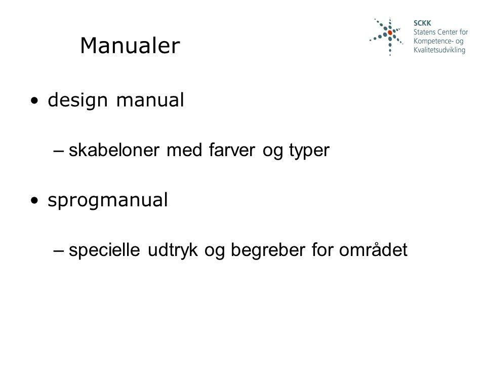 Manualer design manual –skabeloner med farver og typer sprogmanual –specielle udtryk og begreber for området
