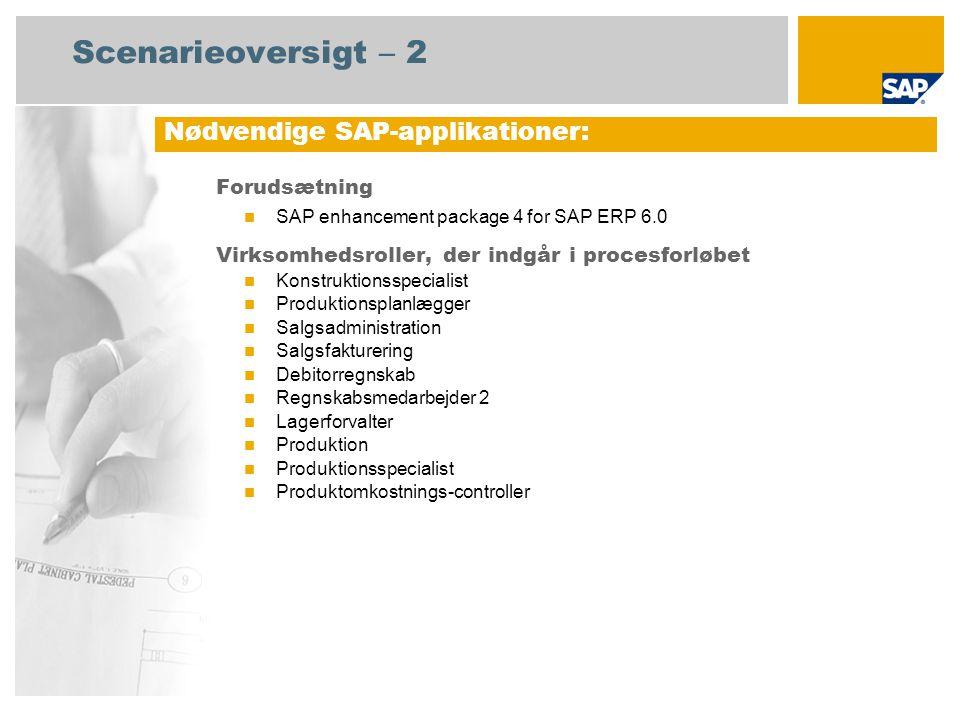 Scenarieoversigt – 2 Forudsætning SAP enhancement package 4 for SAP ERP 6.0 Virksomhedsroller, der indgår i procesforløbet Konstruktionsspecialist Produktionsplanlægger Salgsadministration Salgsfakturering Debitorregnskab Regnskabsmedarbejder 2 Lagerforvalter Produktion Produktionsspecialist Produktomkostnings-controller Nødvendige SAP-applikationer: