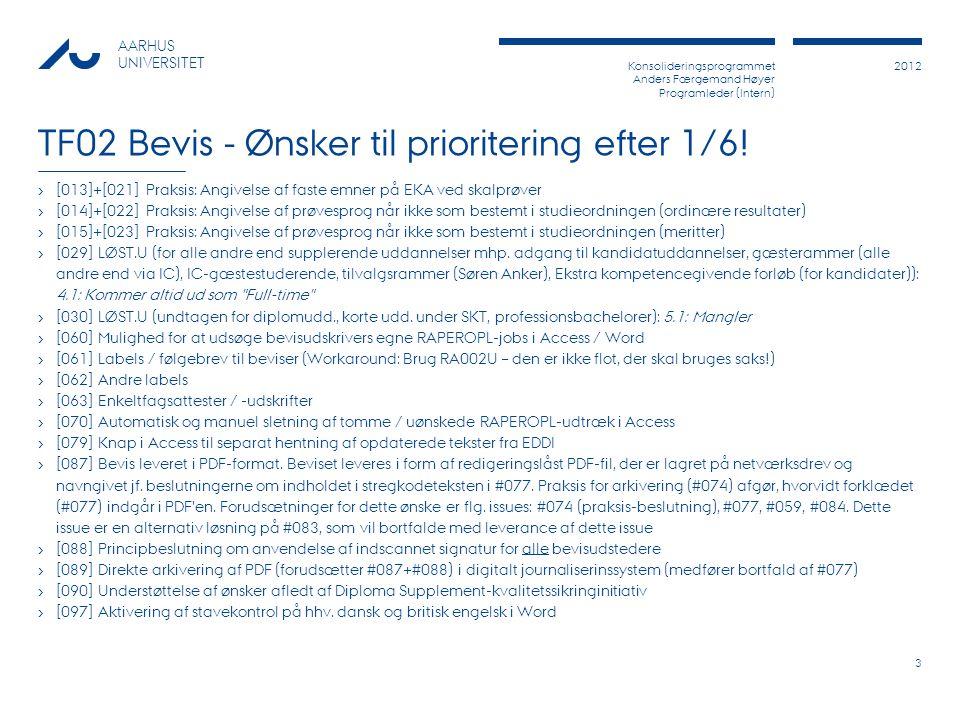 Konsolideringsprogrammet Anders Færgemand Høyer Programleder (Intern) 2012 AARHUS UNIVERSITET TF02 Bevis - Ønsker til prioritering efter 1/6.
