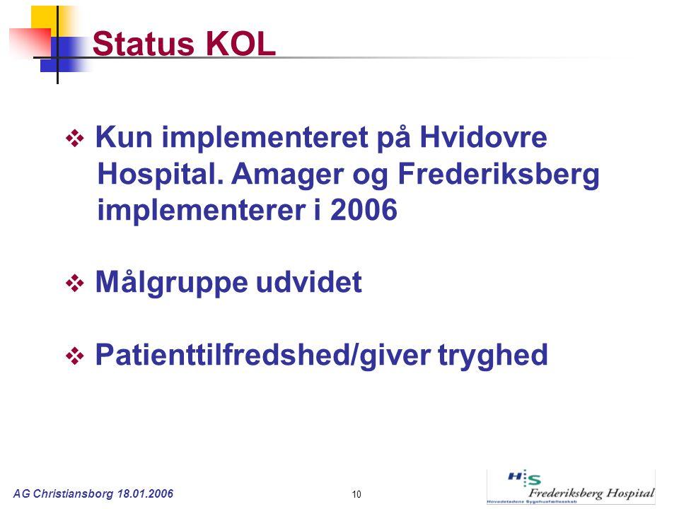 AG Christiansborg 18.01.2006 10 Status KOL  Kun implementeret på Hvidovre Hospital.