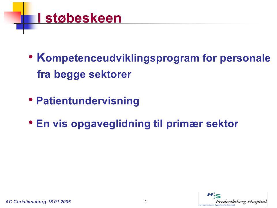 AG Christiansborg 18.01.2006 8 I støbeskeen K ompetenceudviklingsprogram for personale fra begge sektorer Patientundervisning En vis opgaveglidning til primær sektor