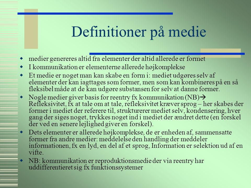 Definitioner på Medie  McLuhan: Mediet er meddelelsen.