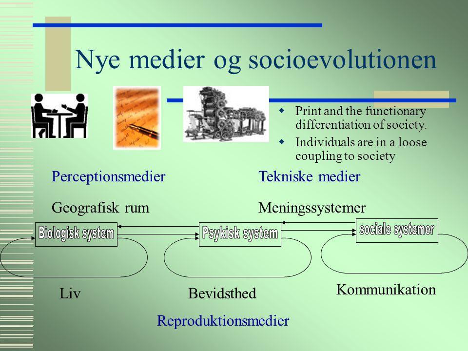 Nye medier og socioevolutionen Reproduktionsmedier LivBevidsthed Kommunikation MeningssystemerGeografisk rum  Skrift og stratifikatorisk differentiering af samfundet  Individet stadig i en fast kobling PerceptionsmedierTekniske medier
