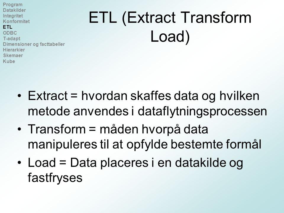 ETL (Extract Transform Load) Extract = hvordan skaffes data og hvilken metode anvendes i dataflytningsprocessen Transform = måden hvorpå data manipuleres til at opfylde bestemte formål Load = Data placeres i en datakilde og fastfryses Program Datakilder Integritet Konformitet ETL ODBC T-adapt Dimensioner og facttabeller Hierarkier Skemaer Kube