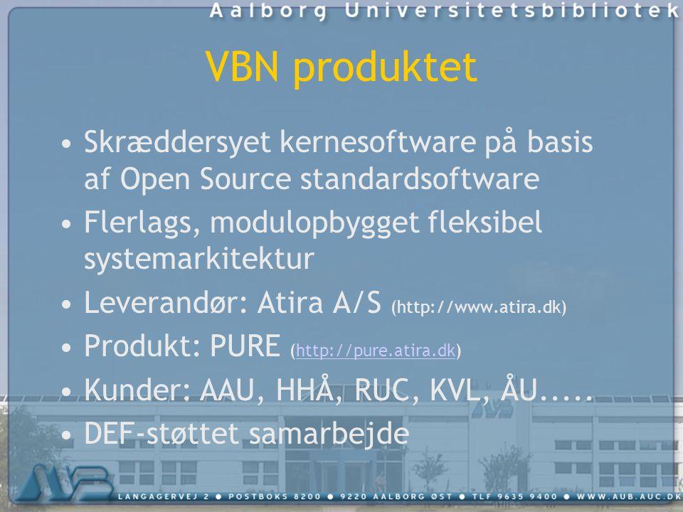 VBN produktet Skræddersyet kernesoftware på basis af Open Source standardsoftware Flerlags, modulopbygget fleksibel systemarkitektur Leverandør: Atira A/S (http://www.atira.dk) Produkt: PURE (http://pure.atira.dk)http://pure.atira.dk Kunder: AAU, HHÅ, RUC, KVL, ÅU.....
