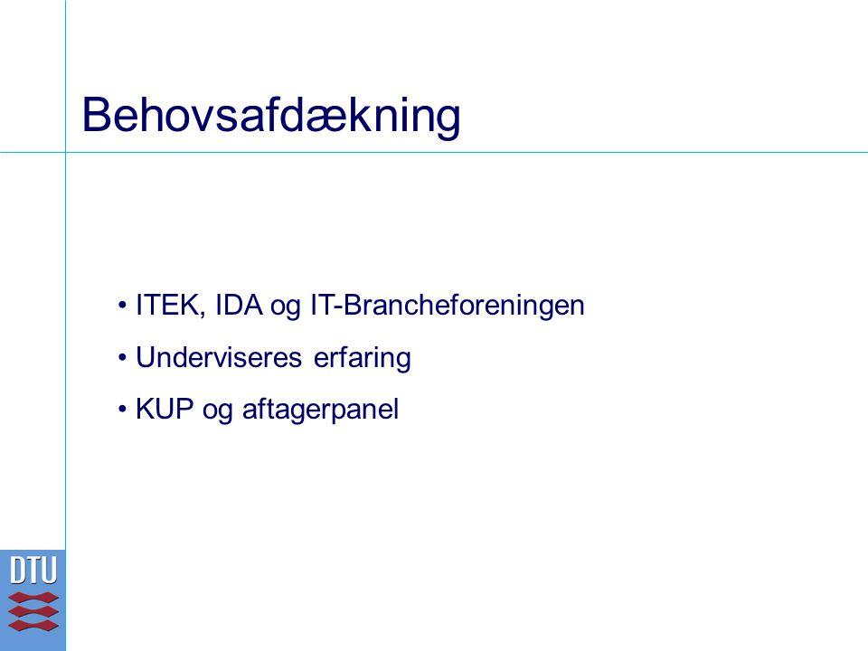 Behovsafdækning ITEK, IDA og IT-Brancheforeningen Underviseres erfaring KUP og aftagerpanel