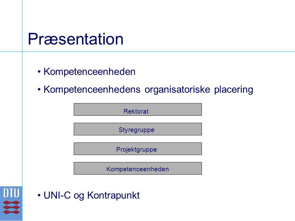 Præsentation Kompetenceenheden Kompetenceenhedens organisatoriske placering UNI-C og Kontrapunkt Styregruppe Rektorat Projektgruppe Kompetenceenheden