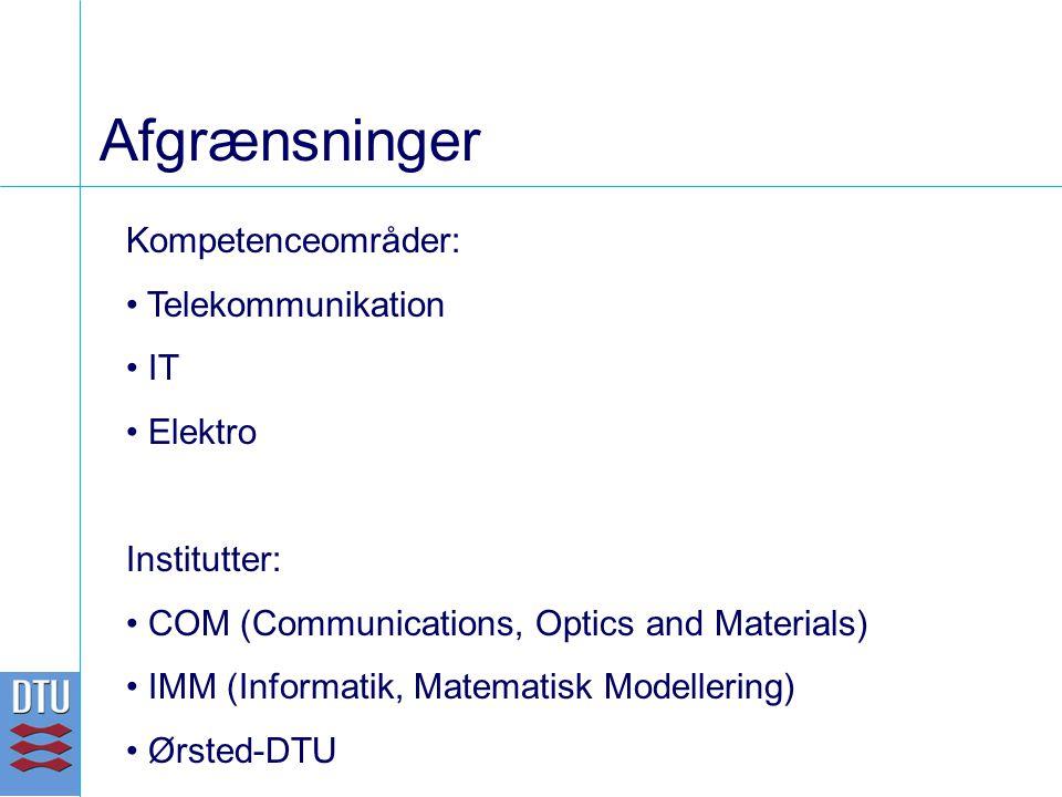 Afgrænsninger Kompetenceområder: Telekommunikation IT Elektro Institutter: COM (Communications, Optics and Materials) IMM (Informatik, Matematisk Modellering) Ørsted-DTU