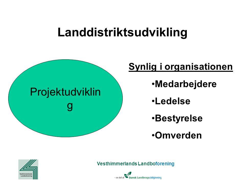 Vesthimmerlands Landboforening Landdistriktsudvikling Projektudviklin g Synlig i organisationen Medarbejdere Ledelse Bestyrelse Omverden