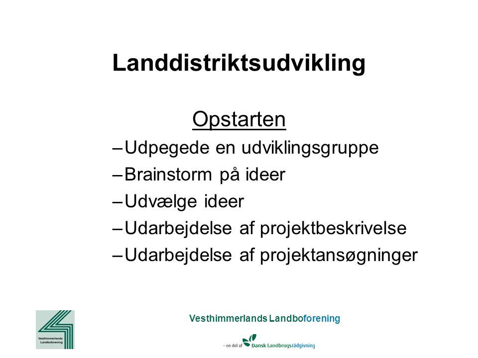 Vesthimmerlands Landboforening Landdistriktsudvikling Opstarten –Udpegede en udviklingsgruppe –Brainstorm på ideer –Udvælge ideer –Udarbejdelse af projektbeskrivelse –Udarbejdelse af projektansøgninger