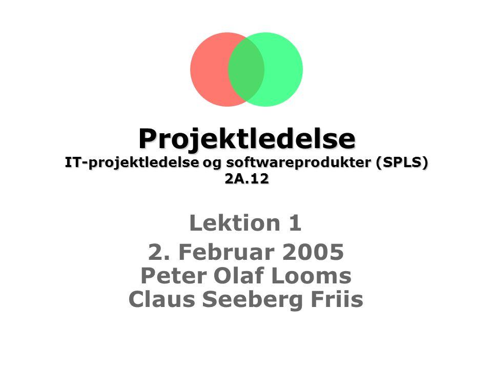 Projektledelse IT-projektledelse og softwareprodukter (SPLS) 2A.12 Lektion 1 2.