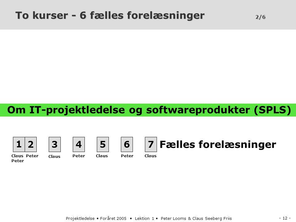 - 12 - Projektledelse Foråret 2005 Lektion 1 Peter Looms & Claus Seeberg Friis To kurser - 6 fælles forelæsninger 2/6 1234567 Fælles forelæsninger Peter Claus Peter Claus Om IT-projektledelse og softwareprodukter (SPLS)